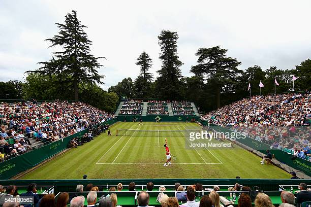 General view of play as Novak Djokovic of Serbia serves during his match against David Goffin of Belgium during day two of The Boodles Tennis Event...