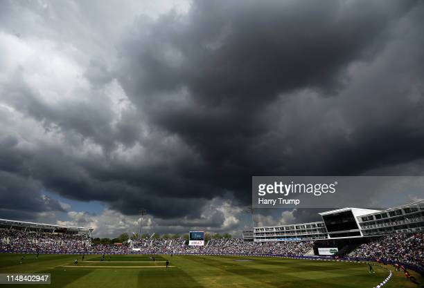 General view of play as rain clouds gather during the Second One Day International match between England and Pakistan at The Ageas Bowl on May 11...
