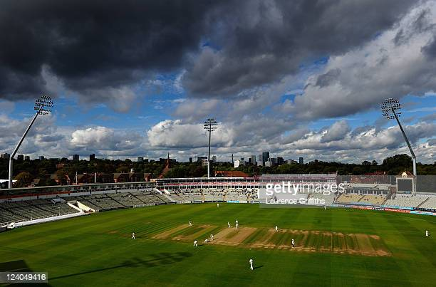 A general view of play as rain clouds gather over the City during the LV County Championship match between Warwickshire and Nottinghamshire at...