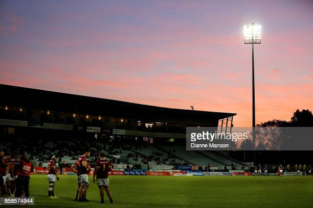 A general view of play as seen during the round eight Mitre 10 Cup match between Southland and Wellington at Rugby Park Stadium on October 7 2017 in...