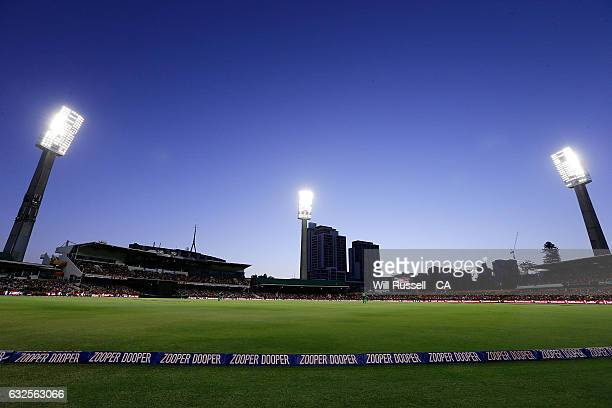 A general view of play as Shaun Marsh of the Scorchers bats during the Big Bash League match between the Perth Scorchers and the Melbourne Stars at...