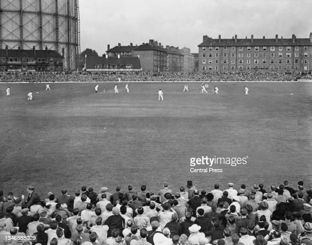 General view of play as spectators watch Australia bat in the 1st innings of the 5th Test match of the England versus Australia Ashes series on 23rd...