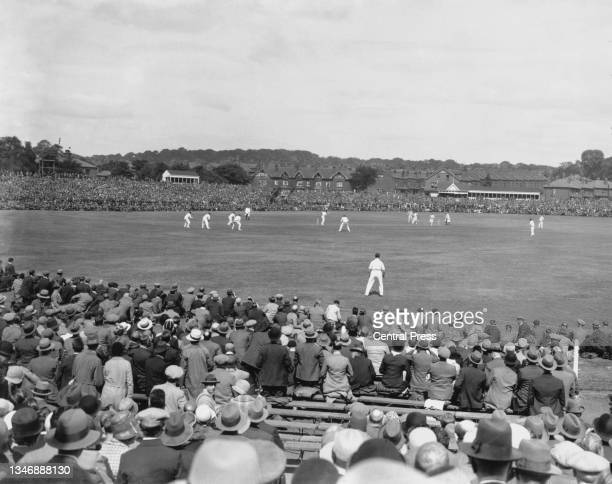 General view of play as spectators watch England bat in the 1st innings of the 3rd Test match of the England versus Australia Ashes series on 11th...