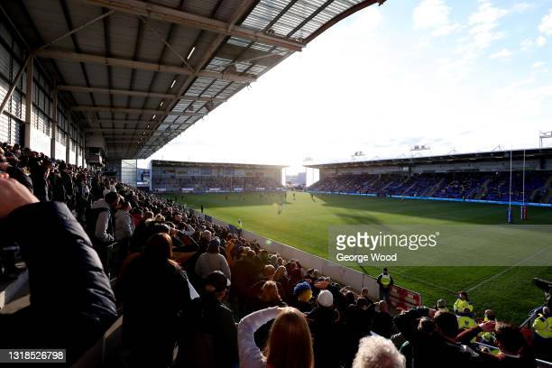 General view of play as spectators watch from the stands during the Betfred Super League match between Warrington Wolves and Huddersfield Giants at...