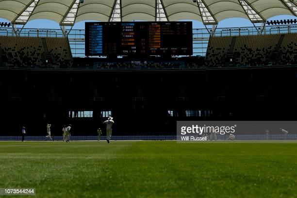 A general view of play as the Blues field during Day two of the Sheffield Shield match between Western Australia and New South Wales at Perth Stadium...