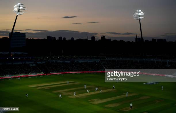 General view of play as the floodlights take effect during the 1st Investec Test match between England and West Indies at Edgbaston on August 17 2017...