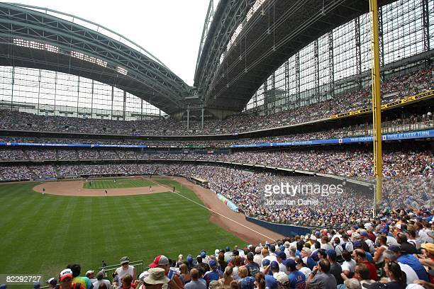 A general view of play as the Milwaukee Brewers play host to the Chicago Cubs during an MLB game on July 31 2008 at Miller Park in Milwaukee...