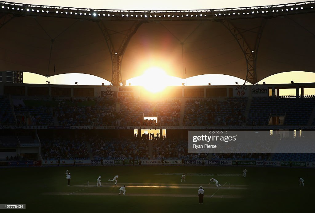 A general view of play as the sun sets during Day Three of the First Test between Pakistan and Australia at Dubai International Stadium on October 24, 2014 in Dubai, United Arab Emirates.