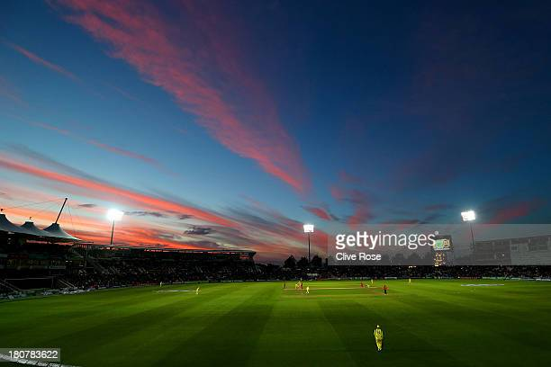 A general view of play as the sun sets during the 5th NatWest Series one day international at the Ageas Bowl on September 16 2013 in Southampton...