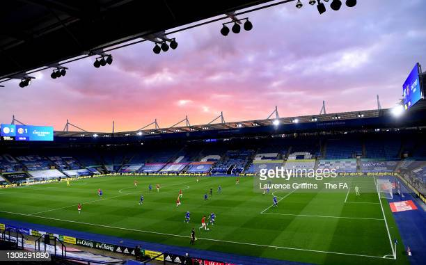 General view of play as the sun sets during the Emirates FA Cup Quarter Final match between Leicester City and Manchester United at The King Power...