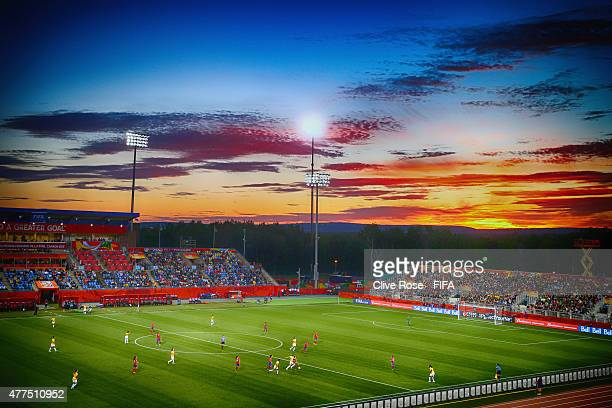 A general view of play as the sun sets during the FIFA Women's World Cup 2015 Group E match between Costa Rica and Brazil at Moncton Stadium on June...