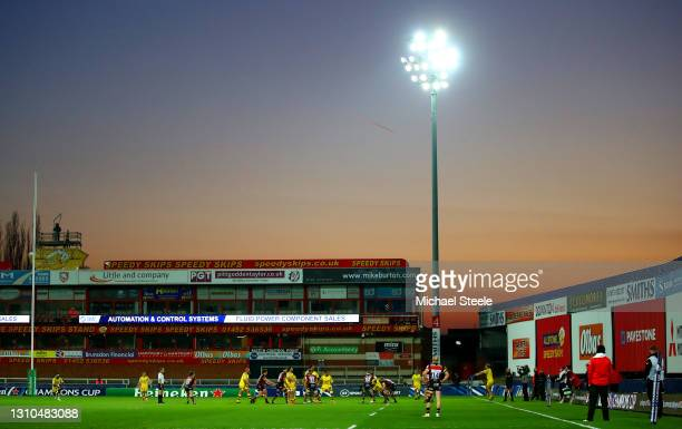 General view of play as the sun sets during the Heineken Champions Cup Round of 16 match between Gloucester Rugby and La Rochelle at Kingsholm...
