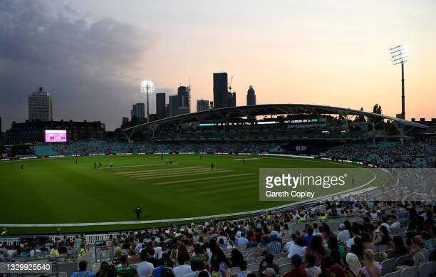 General view of play as the sun sets during the The Hundred match between Oval Invincibles and Manchester Originals at The Kia Oval on July 21, 2021...