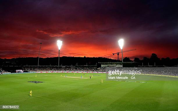 A general view of play as the sun sets during the Victoria Bitter One Day International match between Australia and India at Manuka Oval on January...