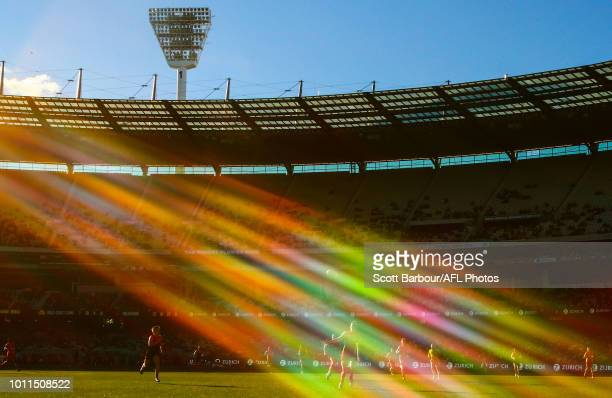A general view of play as the sun shines during the round 20 AFL match between the Melbourne Demons and the Gold Coast Suns at Melbourne Cricket...