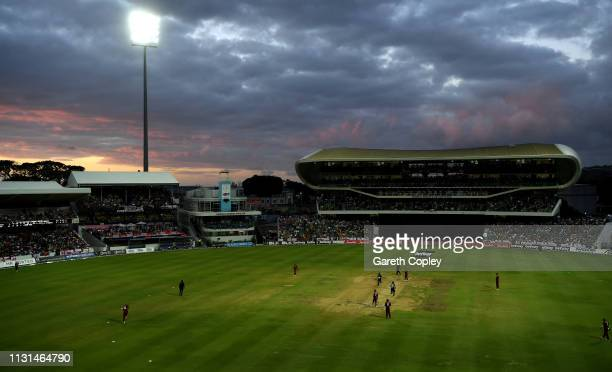 General view of play as the sunsets during the 2nd One Day International match between the West Indies and England at Kensington Oval on February 22...