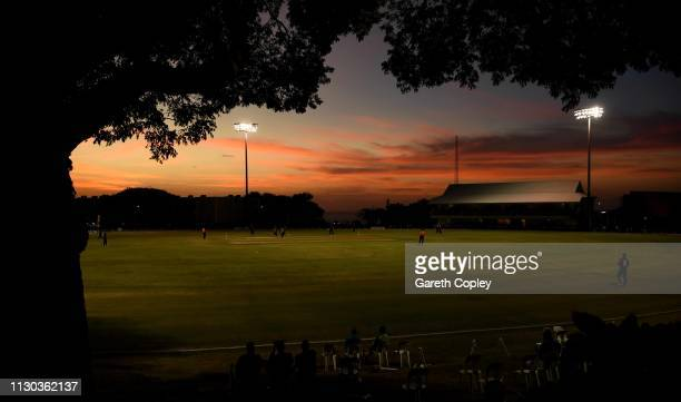 General view of play as the sunsets during the One Day Tour Match between England and The University of West Indies Vice Chancellor's XI at Three Ws...