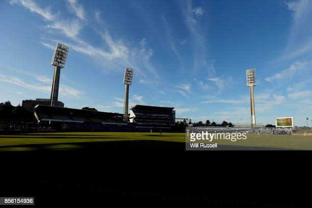 A general view of play as trhe Warriors field during the JLT One Day Cup match between Victoria and Western Australia at WACA on October 1 2017 in...
