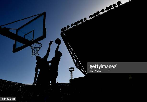 A general view of play as Turkmenistan compete against Saudi Arabia in the Mens 3x3 Basketball Group Game during day seven of Baku 2017 4th Islamic...