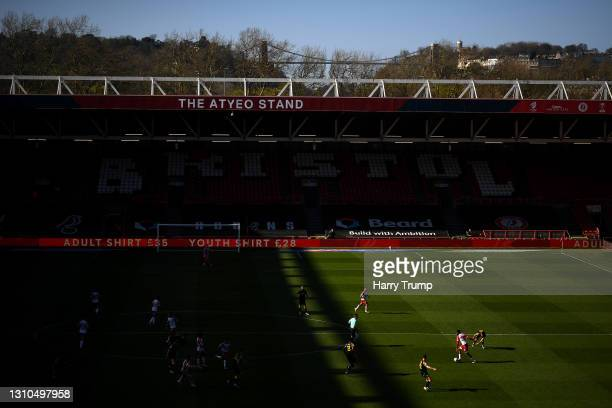 General view of play as Tyreeq Bakinson of Bristol City runs with the ball during the Sky Bet Championship match between Bristol City and Stoke City...