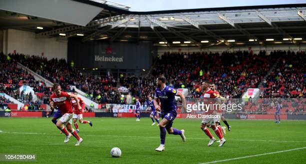 General view of play at Ashton Gate as Erik Pieters of Stoke City runs down the wing during the Sky Bet Championship match between Bristol City and...