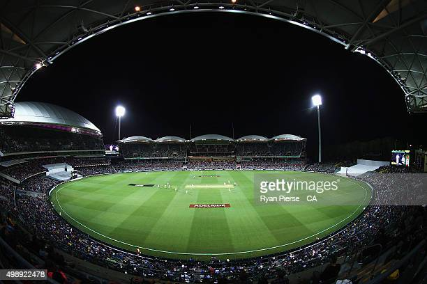General view of play at night during day one of the Third Test match between Australia and New Zealand at Adelaide Oval on November 27, 2015 in...