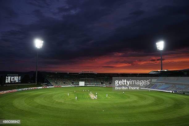 General view of play at sunset during day four of the Sheffield Shield match between Tasmania and Western Australia at Blundstone Arena on October...