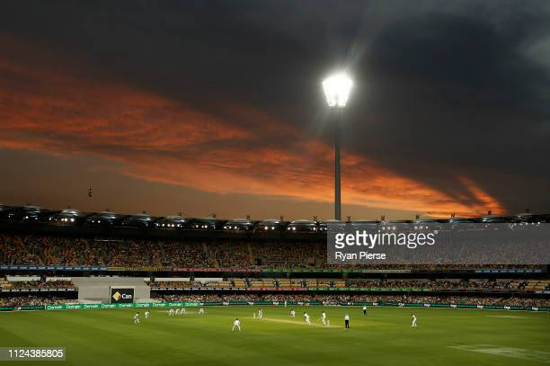General view of play at sunset during day one of the First Test match between Australia and Sri Lanka at The Gabba on January 24, 2019 in Brisbane,...