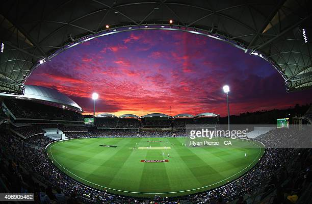 General view of play at sunset during day one of the Third Test match between Australia and New Zealand at Adelaide Oval on November 27, 2015 in...