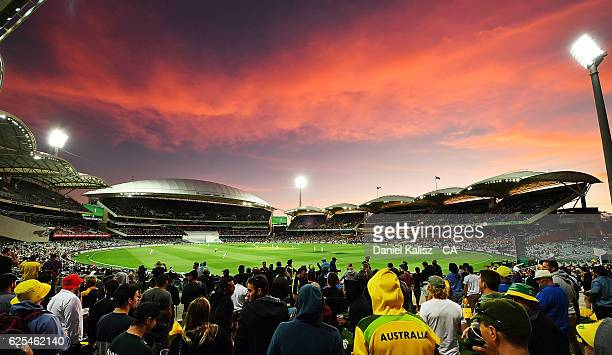 General view of play at sunset during day one of the Third Test match between Australia and South Africa at Adelaide Oval on November 24, 2016 in...