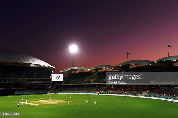 A general view of play at sunset during day three of the Sheffield Shield match between South Australia and New South Wales at Adelaide Oval on March...