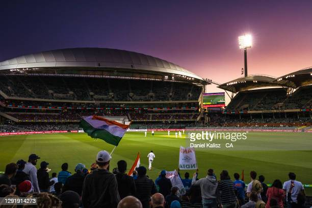 General view of play at sunset during day two of the First Test match between Australia and India at Adelaide Oval on December 18, 2020 in Adelaide,...