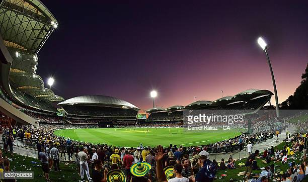 A general view of play at sunset during game five of the One Day International series between Australia and Pakistan at Adelaide Oval on January 26...