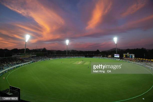 General view of play at sunset during game three of the One Day International series between Australia and India at Manuka Oval on December 02, 2020...