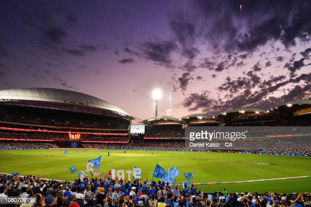 A general view of play at sunset during the Big Bash league match between the Adelaide Strikers and the Melbourne Stars at Adelaide Oval on January...