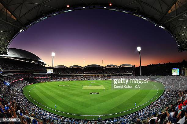 A general view of play at sunset during the Big Bash League match between the Adelaide Strikers and Brisbane Heat at Adelaide Oval on December 21...