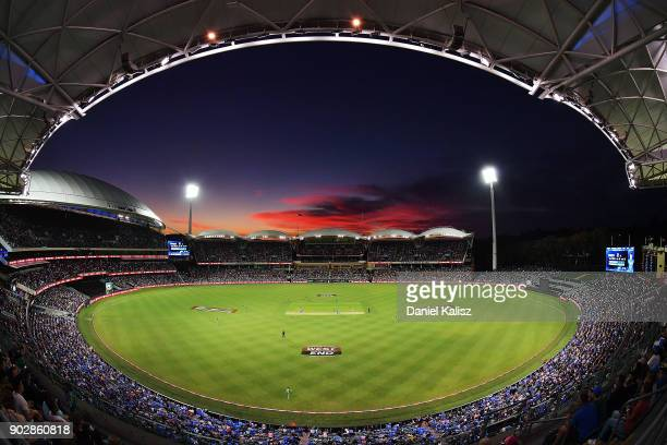 General view of play at sunset during the Big Bash League match between the Adelaide Strikers and the Melbourne Stars at Adelaide Oval on January 9,...