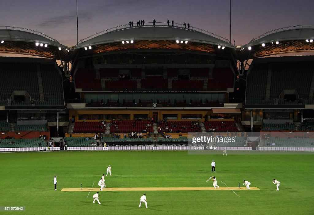 A general view of play at sunset during the four day tour match between Cricket Australia XI and England at Adelaide Oval on November 8, 2017 in Adelaide, Australia.