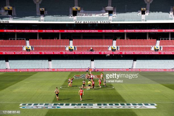 A general view of play at the first bounce during the round 1 AFL match between the Adelaide Crows and the Sydney Swans at Adelaide Oval on March 21...