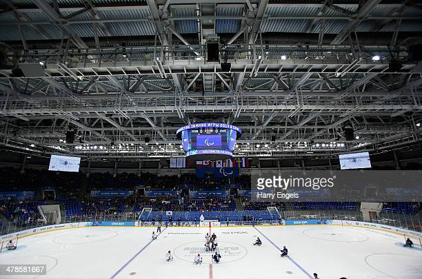General view of play at the start of the Ice Sledge Hockey classifications match between Korea and Sweden at the Shayba Arena during day seven of the...
