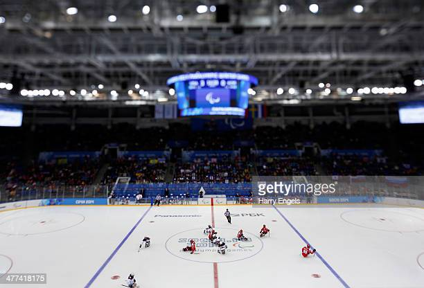 A general view of play at the start of the third period during the Ice Sledge Hockey Preliminary Round Group B match between the USA and Korea at...