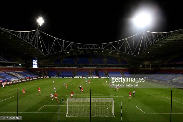 General view of play at the University of Bolton Stadium during the EFL Trophy match between Bolton Wanderers and Crewe Alexandra at University of...