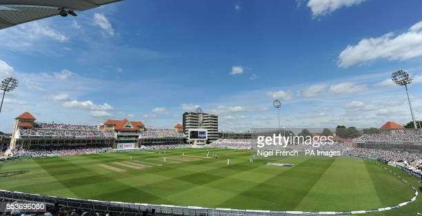 General view of play between England and India during day one of the first Investec test match at Trent Bridge, Nottingham.
