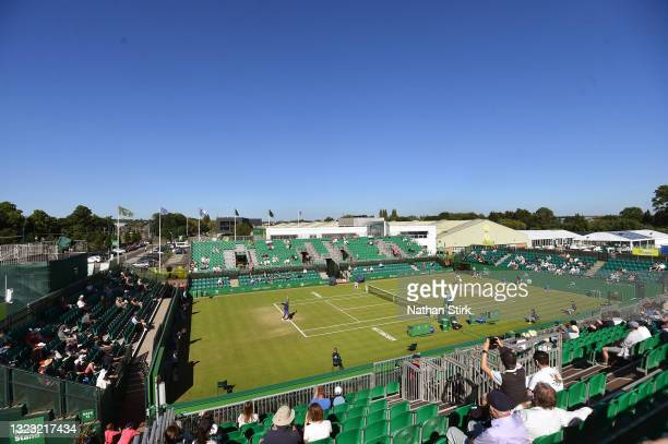 General view of play between Frances Tiafore of United States and Marius Copil of Romania during the men's semi-finals match on day eight of the...