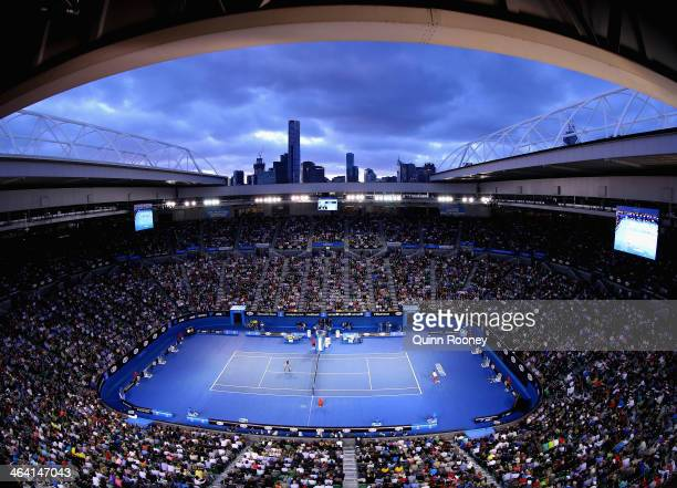 A general view of play between Novak Djokovic of Serbia and Stanislas Wawrinka of Switzerland during their quarterfinal match aat the 2014 Australian...