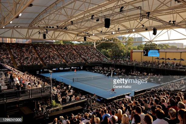 General view of play between Rafael Nadal of Spain and Dominic Thiem of Austria during the 'A Day at the Drive' exhibition tournament at Memorial...