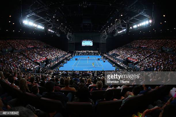 A general view of play between Roger Federer of Switzerland and Lleyton Hewitt of Australia during their match at Qantas Credit Union Arena on...