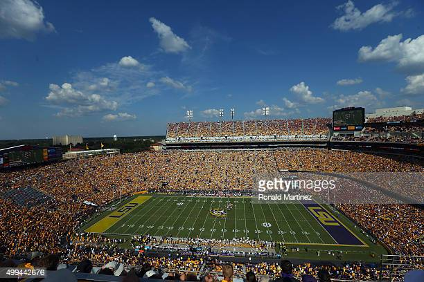 A general view of play between the Auburn Tigers and the LSU Tigers at Tiger Stadium on September 19 2015 in Baton Rouge Louisiana