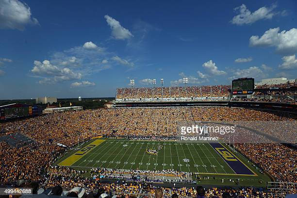 General view of play between the Auburn Tigers and the LSU Tigers at Tiger Stadium on September 19, 2015 in Baton Rouge, Louisiana.