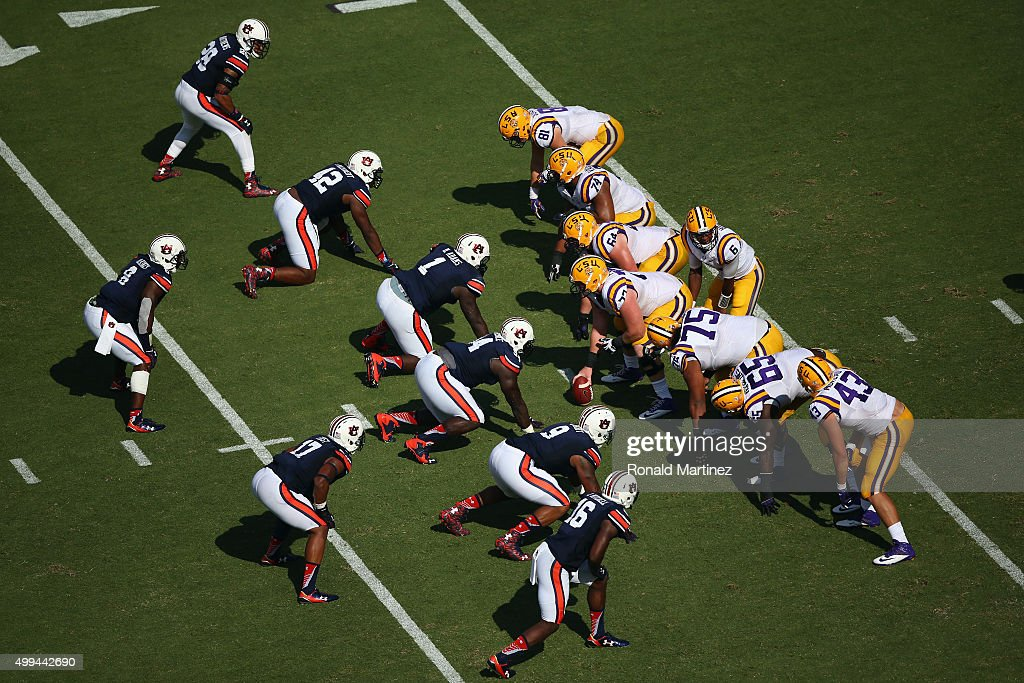 A general view of play between the Auburn Tigers and the LSU Tigers at Tiger Stadium on September 19, 2015 in Baton Rouge, Louisiana.